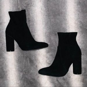 A New Day Black Suede Heel Boots SZ 7.5